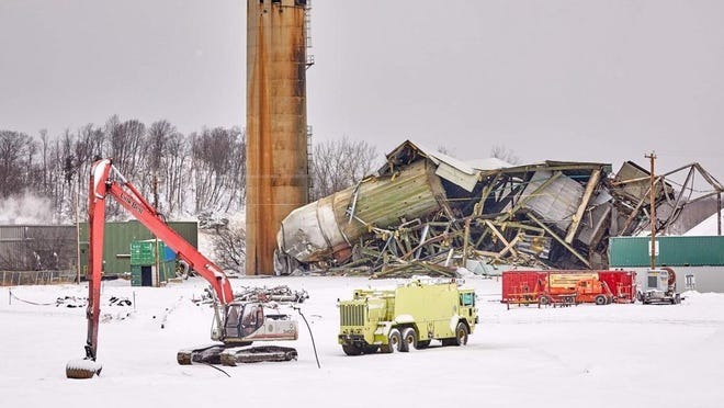 Crews demolished  one of the three remaining buildings of the former J.B. Sims Generating Station on Friday, Feb. 5.