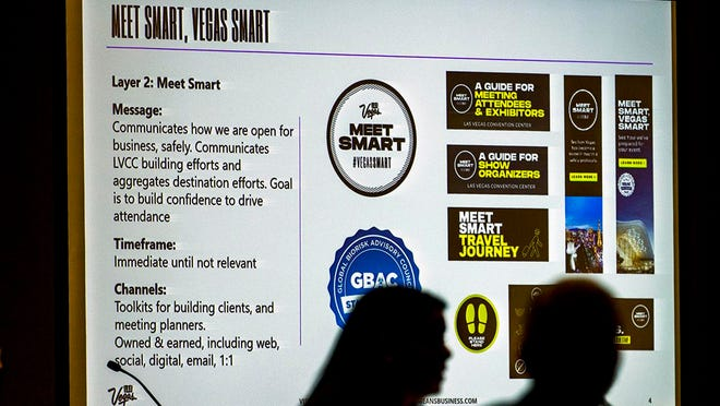 An information slide is displayed on a screen during a Las Vegas Convention and Visitors Authority meeting at the Las Vegas Convention Center on March 9 as Kate Wik, chief marketing officer for the authority, gives a marketing presentation.