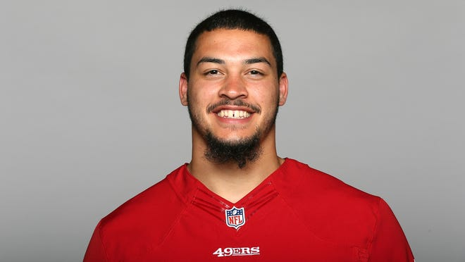 This is a 2014 photo of Aaron Lynch of the San Francisco 49ers NFL football team. This image reflects the San Francisco 49ers active roster as of Thursday, May 22, 2014 when this image was taken. (AP Photo)