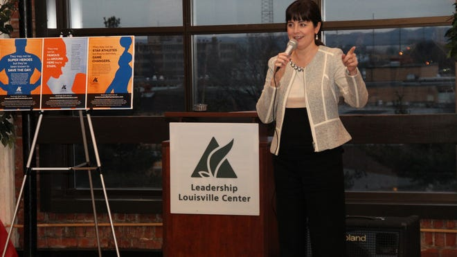 Cynthia Knapeck, president of the Leadership Louisville Center, speaks at a launch event for the West Louisville Connectors Project at the Chestnut Street YMCA, 10th and Chestnut streets.