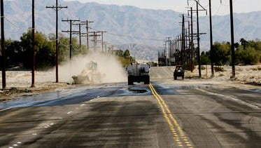 This file photo shows Vista Chino after it's been closed for flooding. Palm Springs officials announced a $7 million grant will go toward designing a bridge above the area that typically floods following rain storms.