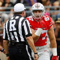 Ohio State lineman Joey Bosa pleads with officials during the first quarter against Western Michigan.