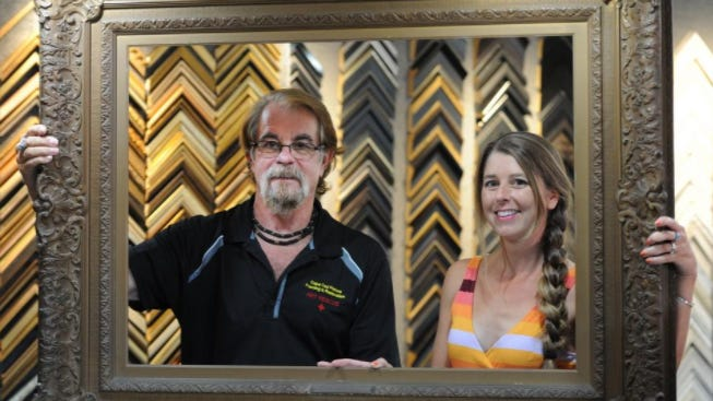 Ron Lindholm and his daughter, Tracy Nee, work together at Cape Cod Picture Framing & Restoration, where they create custom frames and also restore paintings to museum quality.