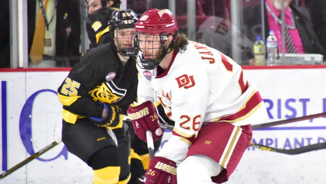 Green Bay native Evan Janssen has tallied seven goals and 18 assists for a career-high 25 points in 40 games this season for the University of Denver men's hockey team, which advanced to the NCAA Division I Frozen Four for a second straight year.