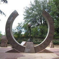 The Korean War Memorial in Cascades Park was designed by Shawn Bliss and dedicated in 1999.