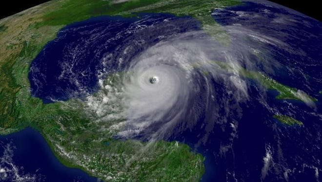 Hurricane Wilma spins near the Yucatan Peninsula in October 2005. It was the most recent major hurricane to hit the USA.
