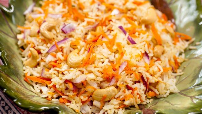 Indian Carrot Rice with Cashews is from Alamelu Vairavan.