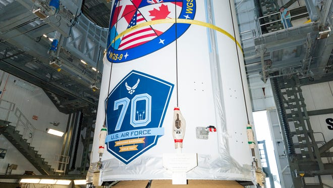 The Air Force's WGS-9 communications satellite was lifted atop a United Launch Alliance Delta IV rocket at Cape Canaveral Air Force Station's Launch Complex 37.