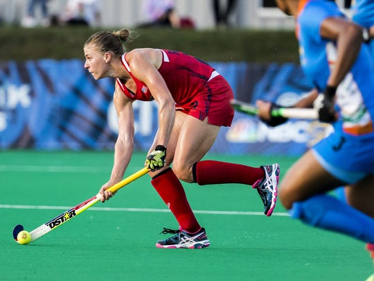 Katelyn Falgowski plays in the U.S. Women's Field Hockey team's 3-2 win over India in Lancaster, Pa. on July 18.