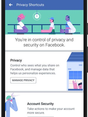 A screenshot of Facebook's updated privacy settings on a smartphone.