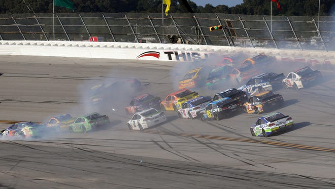 A pack of 17 cars wreck in Turn 3 during the 2017 Alabama 500 at Talladega Superspeedway.