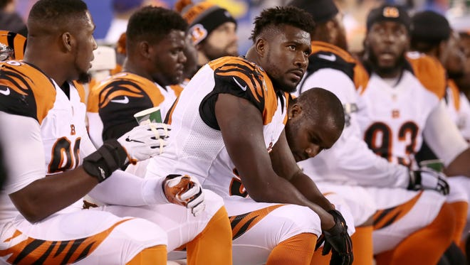 Cincinnati Bengals defensive end Wallace Gilberry (95) watches a replay from the bench during the first quarter of the NFL Week 10 game between the New York Giants and the Cincinnati Bengals at MetLife Stadium in East Rutherford, N.J., on Monday, Nov. 14, 2016.
