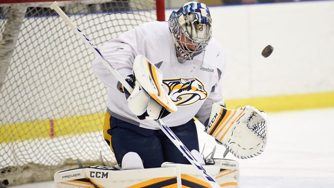 Predators goaltender Pekka Rinne was back on the ice with his teammates Wednesday for the first time this preseason.