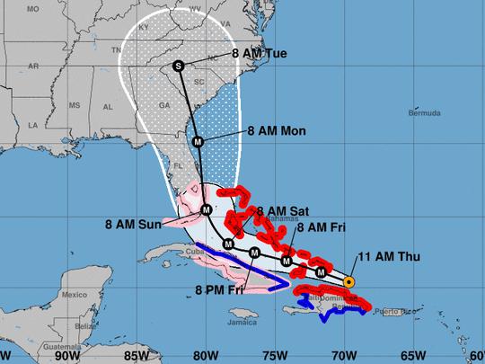 Hurricane Irma forecast track as of 11 a.m. September