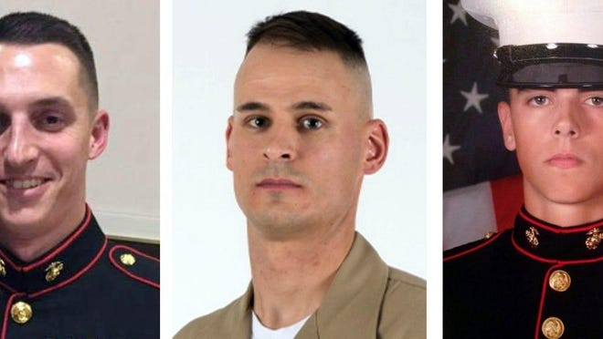 From left, Sgt. Benjamin Hines, Staff Sgt. Christopher Slutman and Cpl. Robert Hendricks were killed on April 8, 2019, when a roadside bomb hit their convoy in Afghanistan.
