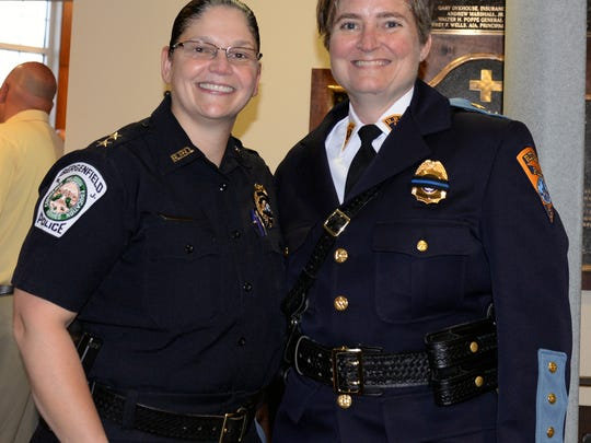 Bergenfield Police Chief Cathy Madalone, left, with