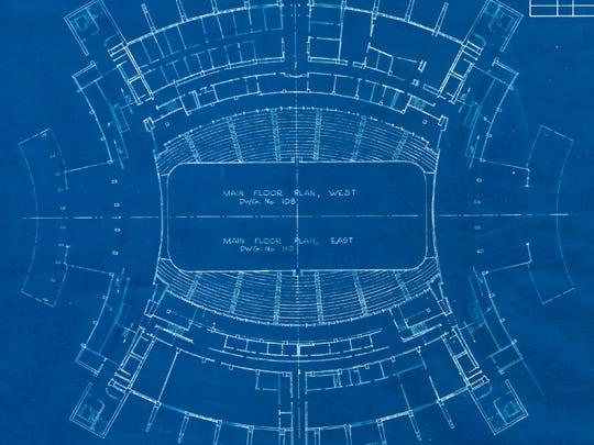 Original blueprints of Assembly Hall.