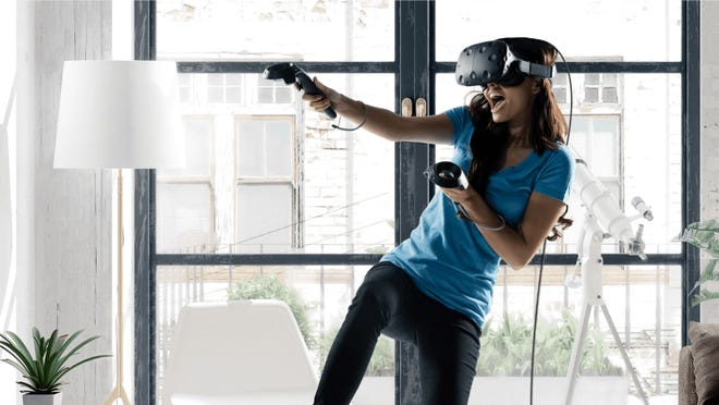 Players can immerse themselves in virtual worlds and experiences using a VR headset.