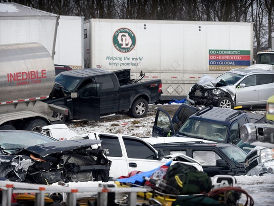 Sixty-four vehicles were involved in a pile-up Saturday,