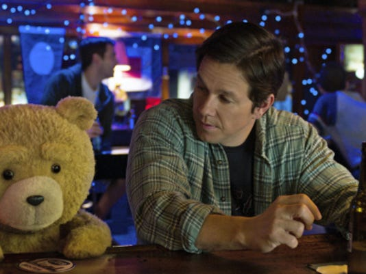 "Ted, voiced by Seth MacFarlane, left, and Mark Wahlberg appear in a scene from ""Ted 2."""