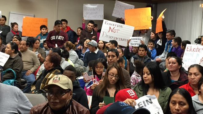 More than 130 people crowded an East Ramapo meeting room in October 2014, to protest comments by then-Superintendent Joel Klein regarding Latinos contributing to the district's drop-out rate.