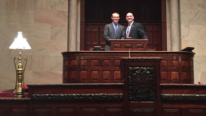 Chenango Valley High School student James Wyatt and state Sen. Fred Akshar at the state Capitol in Albany.