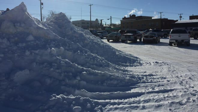 One of the more impressive snow piles in downtown Havre is located near 4th Avenue and 2nd Street.