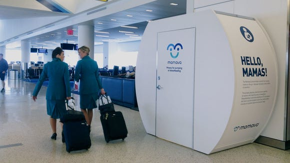 Amtrak will install private Mamava lactation facilities in five train stations after two online petitions garnered 64,000 signatures making such calls. Here, a Mamava lactation pod is shown in an airport.