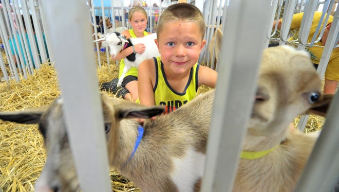 Preston Erickson, 6, right, and his 9-year-old sister Ashley, both of Edgar, show off their goats during the Wisconsin Valley Fair on Wednesday at Marathon County Park in Wausau.