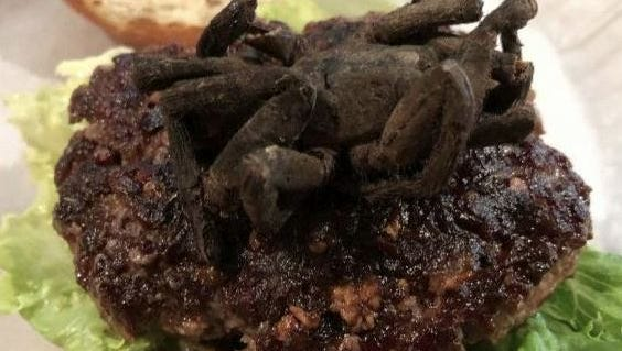 A restaurant in Durham, North Carolina, is Bull City Burger and Brewery is celebrating its sixth annual exotic meat month by serving burgers made from meats eaten around the world. One of the burgers being served is the tarantula burger.