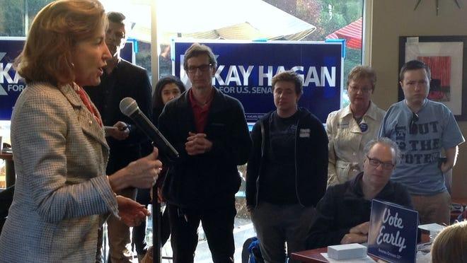U.S. Sen. Kay Hagan speaks in a Merrimon Avenue coffee shop Tuesday morning.