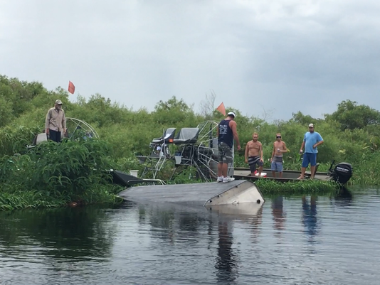 Overturned airboat in St. Johns River