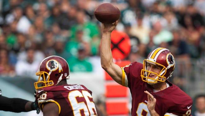 Redskins quarterback Kirk Cousins, shown against the Eagles last September 21, has thrown four interceptions through three games this season.