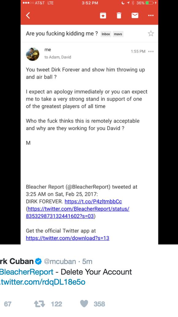 Bleacher Report deletes Dirk Nowitzki tweet after Mark Cuban