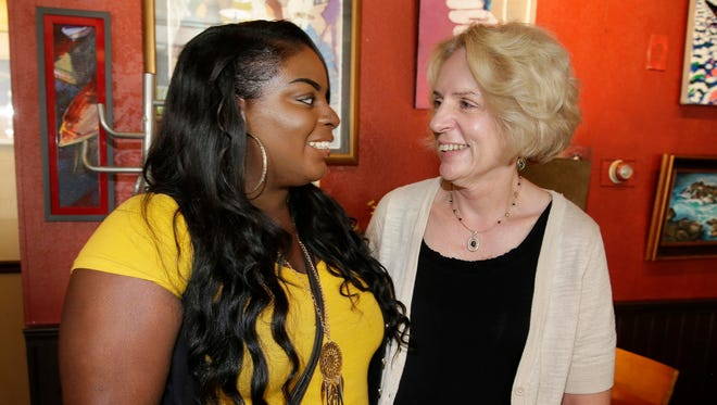 Don Walker's wife, Sue, meets with Jakayla Phillips, the first recipient of the Don Walker Memorial Scholarship.