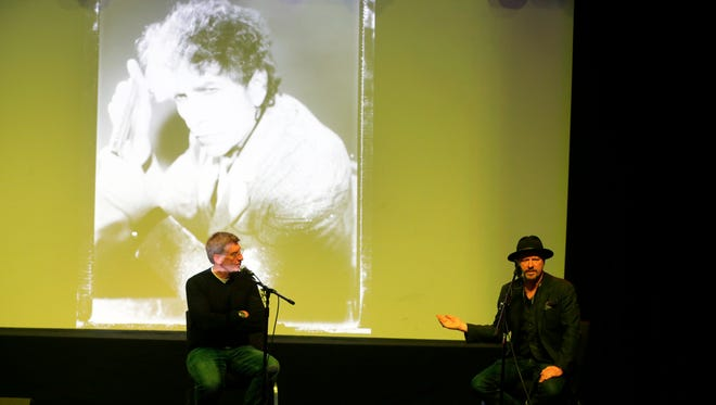 Robert Santelli, executive director of the GRAMMY Museum, and Danny Clinch, photographer and film director of Toms River, speak during the question and answer session after the Dylan Archive video presentation at House of Independents during the Asbury Park Music in Film Festival 2016, presented by the Asbury Park Press and Barnabas Health, in Asbury Park, NJ Sunday, April 10, 2016.
