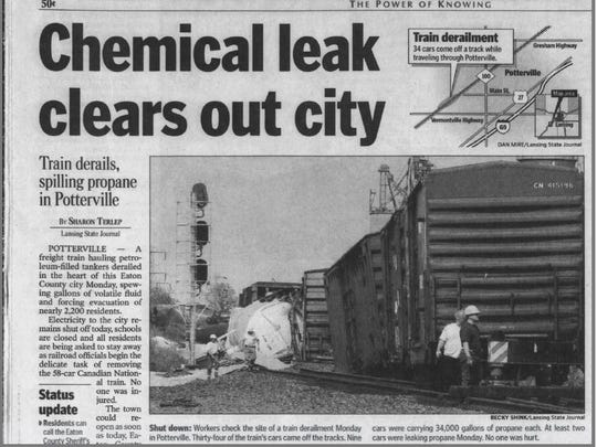 This clipping from the May 28, 2002 issue of the Lansing State Journal shows a story about a train derailment in Potterville, which prompted then-Eaton County Sheriff Rick Jones to evacuate the city. He said that experience taught him to be fearless and helped him to be successful in politics.