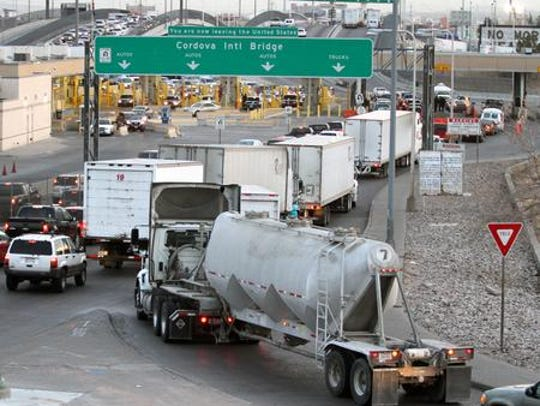 Trucks line up in El Paso to enter the free Bridge