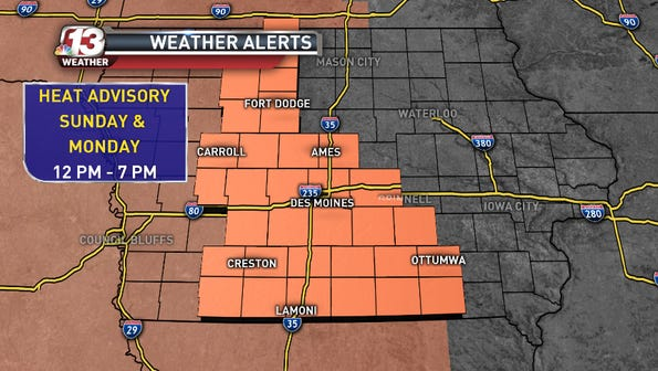 The National Weather Service has issued a Heat Advisory for the following shaded counties
