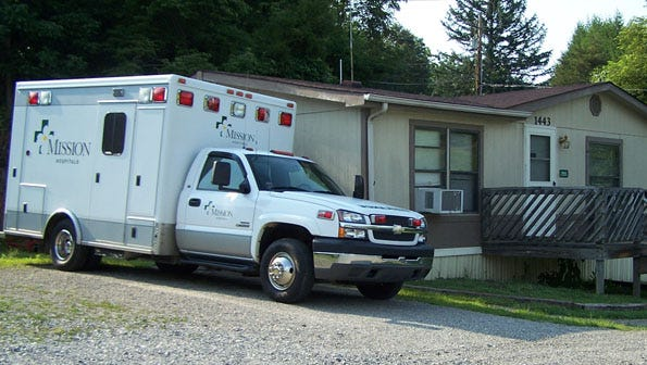 Commissioners rejected two contract offers from Mission Health that included a cutback in ambulance service hours, including the Marshall EMS hub, seen here.