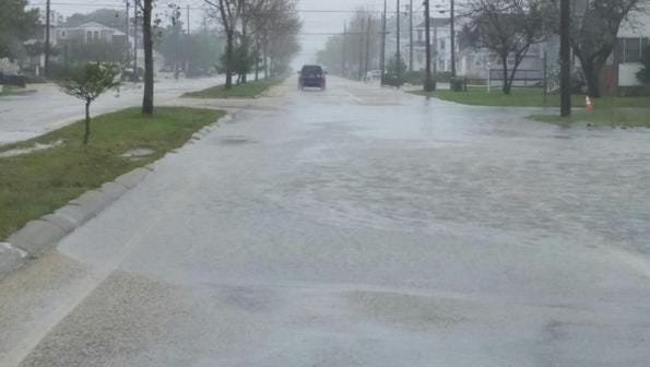 Flooding of Barnegat Avenue in Surf City brought on by Thursday's heavy rain.