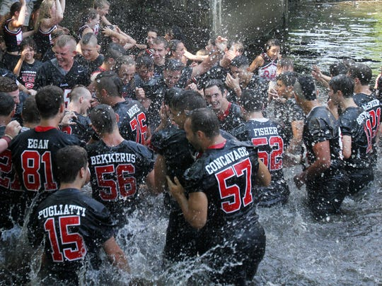 Rye defeated Harrison 42-12 in the annual rivalry game at Nugent Stadium at Rye High School Sept. 10, 2016.