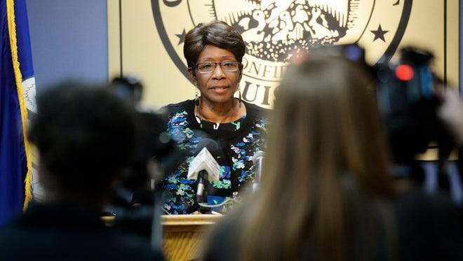 Ollie Tyler during a press event talking about her first days on the job as Shreveport mayor.