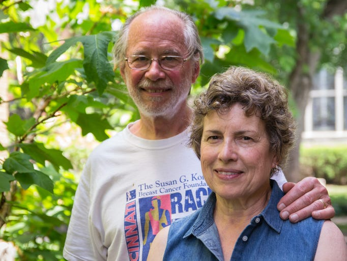 Roger and Mary Ann Meyers stand in their garden in Newport. They are one of eight houses participating in the 18th year of the East Row Garden Club's Garden Walk, featuring over 40 different plants and 28 solar panels in their garden.