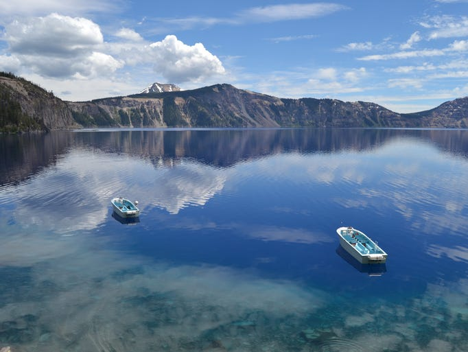 A view of the boat dock area at Crater Lake National Park from the Cleetwood Cove Trail.