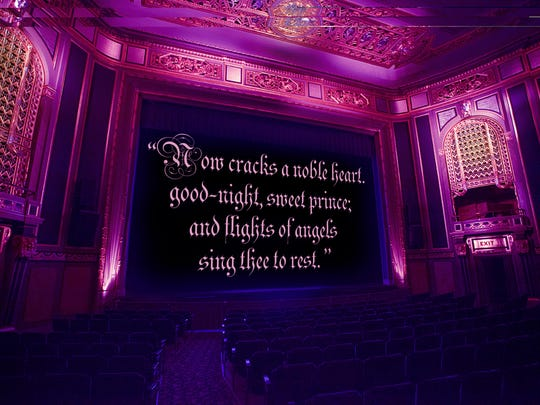"""The Detroit Film Theatre posted a quote from Shakespeare's """"Hamlet"""" on its movie screen."""