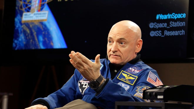 NASA astronaut Scott Kelly speaks during a press conference March 4, 2016, in Houston. Kelly set a U.S. record with his 340-day mission to the International Space Station.