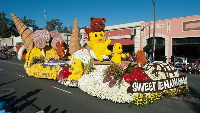 A float created by students at Cal Poly San Luis Obispo makes its way through Pasadena in the Rose Parade two years ago.
