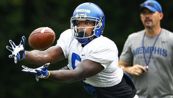 University of Memphis receiver Sean Dykes (left) figures to play a prominent role as early as next year.