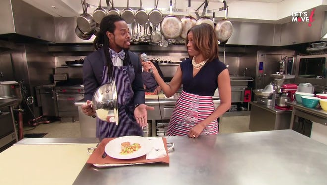 Richard Sherman reprises his famous post-game interview in a new video for Michelle Obama's 'Let's Move' campaign.